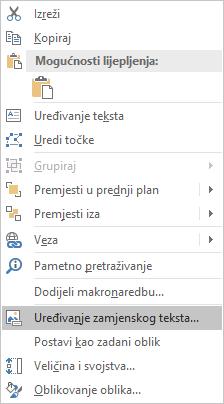 Excel (Win32) – izbornik Uređivanje zamjenskog teksta za oblike