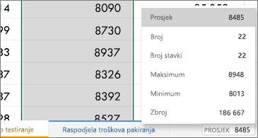 Radni list s često korištenim funkcijama dostupnim u donjem desnom kutu