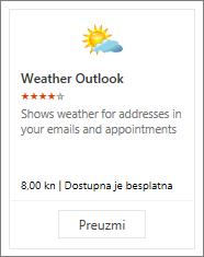Snimka zaslona dodatka Vremenska prognoza za Outlook koji je dostupan uz besplatnu probnu verziju ili plaćanje.