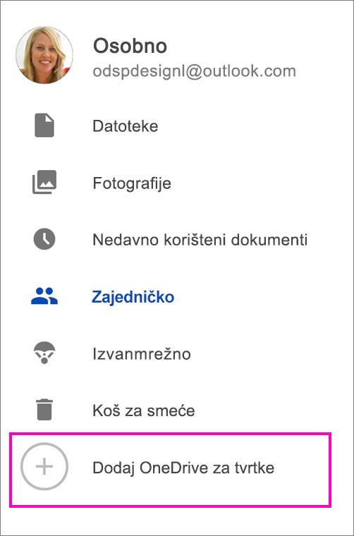 Dodavanje servisa OneDrive za tvrtke.