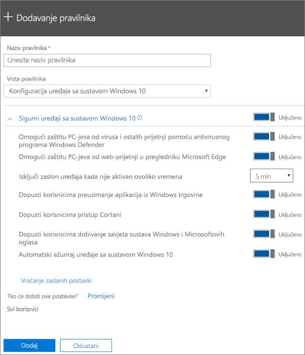 Dodavanje okna s pravilnicima uz odabranu konfiguraciju uređaja sa sustavom Windows 10
