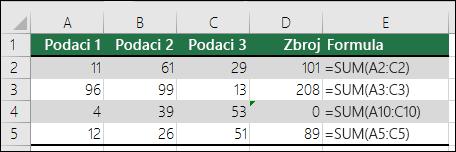 Excel prikazuje pogrešku kada se obrazac formule razlikuje od susjednih formula