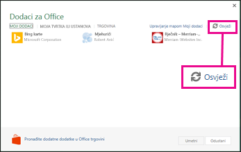 Office Add-ins Refresh button