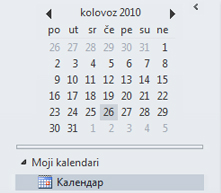 Navigator datuma u navigacijskom oknu kalendara