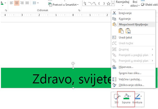 Desnom tipkom miša kliknite rub objekta da biste vidjeli njegovu boju ispune. Zatim možete boju teksta uskladiti s bojom tekstnog okvira.