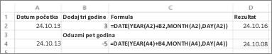 Primjeri pribrajanja datumu i oduzimanja od datuma