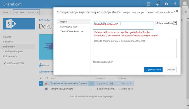Ako se korisnik pokuša zajedničko korištenje dokumenta na adresu e-pošte koja je retricted, oni willl prikaže Ova pogreška.