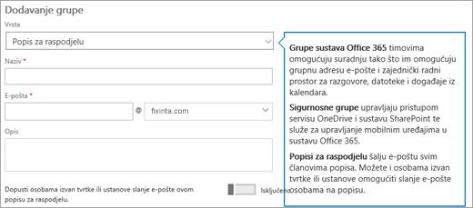 Dodavanje stranice grupa - odaberite padajući popis i odaberite popis za raspodjelu