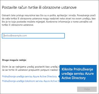Kliknite Pridruživanje uređaja servisu Azure Active Directory.