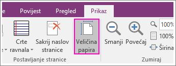 Snimka zaslona gumba Veličina papira u programu OneNote 2016.