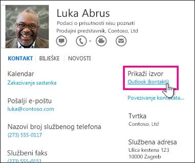Veza Prikaži izvor na kartici kontakta u programu Outlook