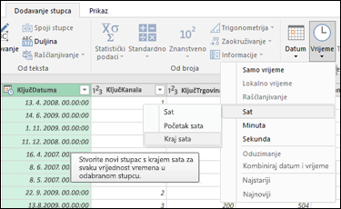 Power Query – izdvajanje početka/završetka sata iz stupca Datum/vrijeme ili Vrijeme u uređivaču upita