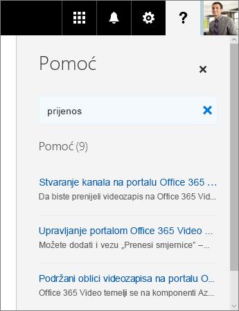 Snimka zaslona na kojoj se prikazuje okno pomoći portala Office 365 Video s prikazanim rezultatima pretraživanja za pojam Prijenos.