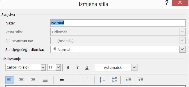 Oblik izmjene stila u programu Word