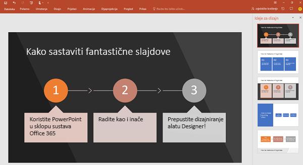 PowerPoint Designer pretvara tekst koji se odnosi na postupak u grafiku.