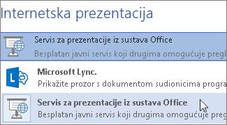 Internetske prezentacije putem servisa za prezentacije iz sustava Office