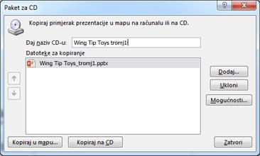 Pakiranje prezentacije za CD