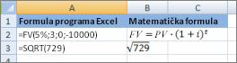 Formule u programu Excel i slično matematičke formule