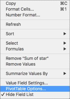 Mogućnosti zaokretne tablice na kontekstnom izborniku programa Excel za Mac.