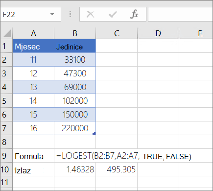 Primjer 1 – funkcija LOGEST
