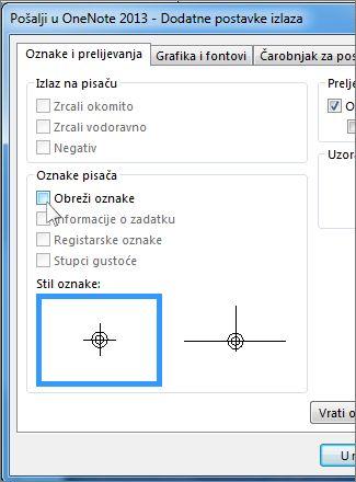 Potvrdni okvir za uklanjanje oznaka obrezivanja