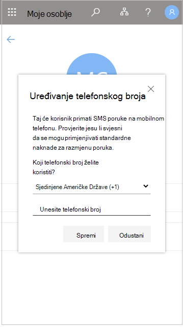 Uređivanje telefonskog broja člana osoblja u izborniku Moje osoblje