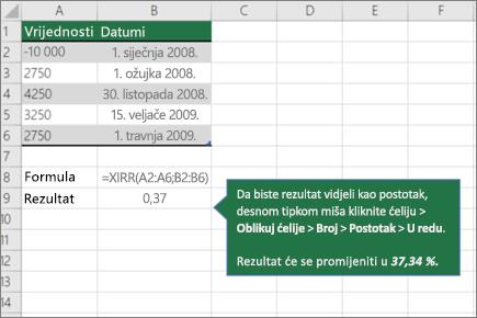 Primjer funkcije XIRR