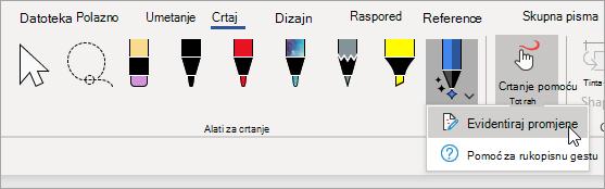 Odaberite Evidentiraj promjene za olovku za uređivanje rukopisa.