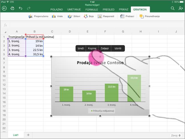 Kopiranje grafikona iz aplikacije Excel za iPad