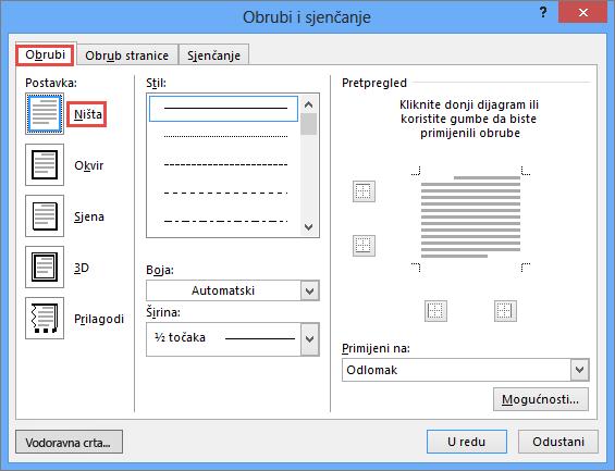 Dijaloški okvir programa Outlook 2010 Obrubi i sjenčanje