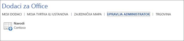 Na snimci zaslona prikazuje se kartica Upravlja administrator sa stranice Dodaci za Office u aplikaciji sustava Office. Na kartici je prikazan dodatak Navodi.