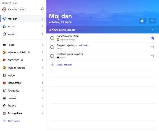 Snimka zaslona s prikazom bočne trake popisa i popisa dana u programu Microsoft to-do