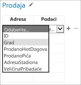 Odabir podataka aplikacije za Office koji će se prikazati u aplikaciji programa Access
