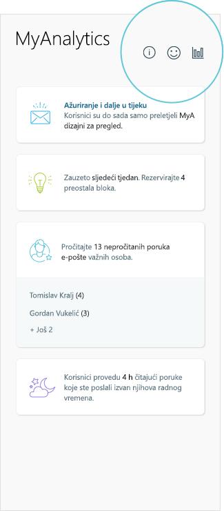 Snimka zaslona s MyAnalytics rezultata