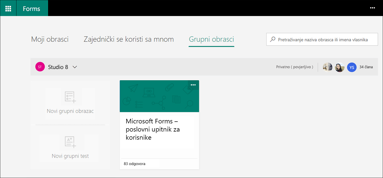 Na kartici Obrasci Microsoft Forms grupe