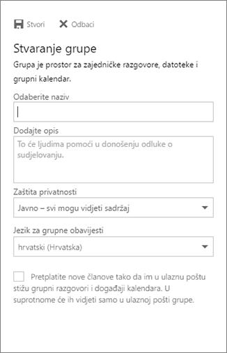 Stvaranje grupe u kalendaru servisa Outlook na webu za tvrtke