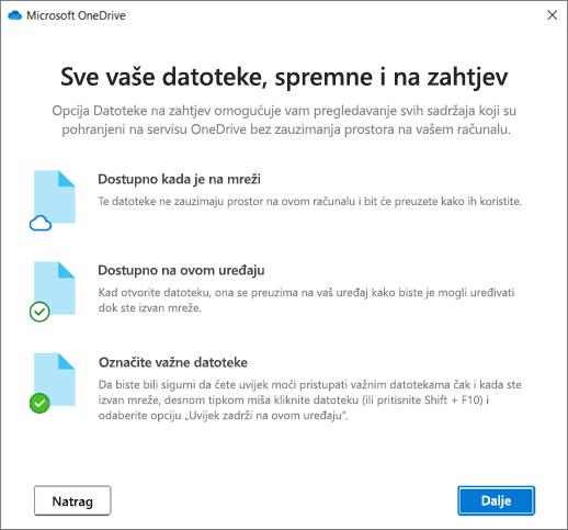 Datoteke na zaslonu potražnje u čarobnjaku dobrodošlice u OneDrive