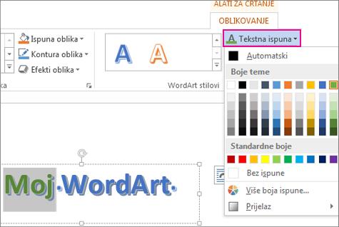 Galerija boja ispune teksta na kartici Alati za crtanje, Oblikovanje