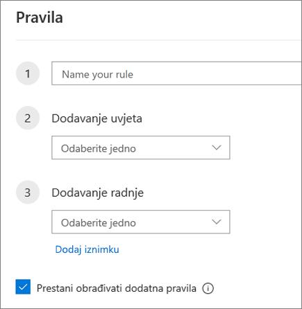 Stvaranje novog pravila u programu Outlook na webu