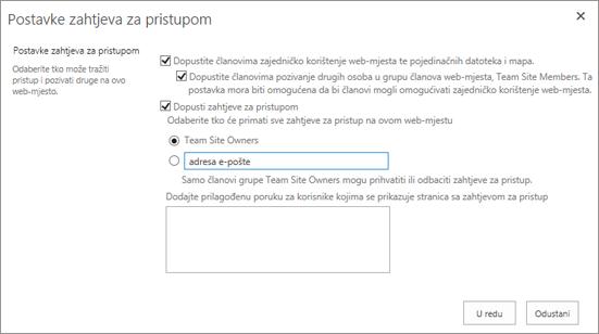 Snimka zaslona dijaloškog okvira Zahtjevi za pristup
