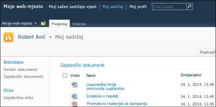 Moja web-mjesta u sustavu SharePoint 2010