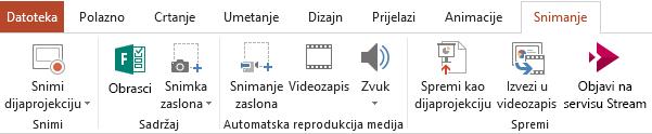 Prikazuje karticu Snimanje na vrpci u programu PowerPoint 2016
