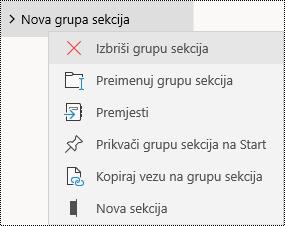 Brisanje grupa sekcija u aplikaciji OneNote za Windows 10
