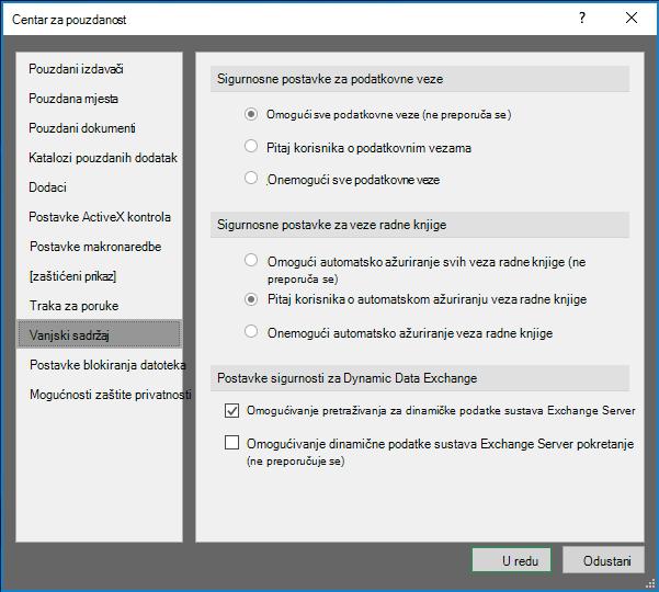 Postavke vanjskog sadržaja u centru za pouzdanost programa Excel