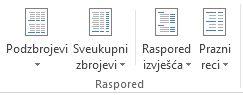 Mogućnosti rasporeda u grupi Raspored na kartici Dizajn