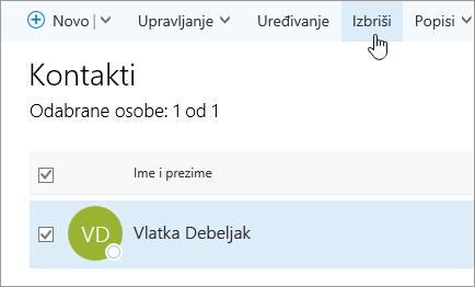 Snimka zaslona s gumbom Izbriši na stranici osobe.