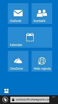 pristup web-mjestima, bibliotekama i e-pošti pomoću navigacijskih pločica u sustavu office 365