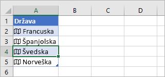 Ćelija povezanog zapisa odabrana u tablici