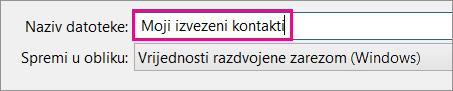 Upišite naziv datoteke s kontaktima