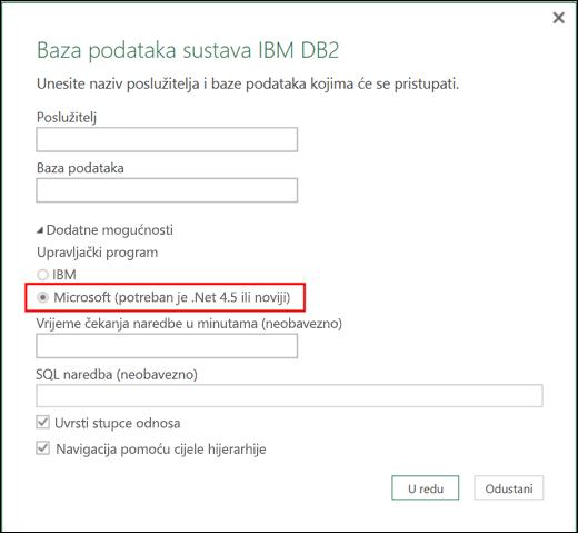 Dijaloški okvir za povezivanje s bazom podataka IBM DB2 dodatka Power BI za Excel